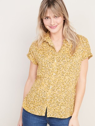 Old Navy Ditsy-Floral Print Cap-Sleeve Shirt for Women