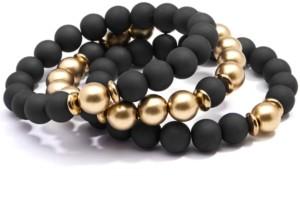 Zenzii Gold-Tone 3-Pc. Set Metallic & Matte Beaded Stretch Bracelets