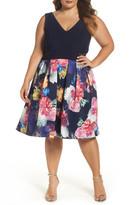 Xscape Evenings Mesh Inset Print Skirt Scuba Knit Dress (Plus Size)