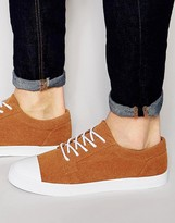 Asos Lace Up Plimsolls In Tan Faux Suede With Toe Cap
