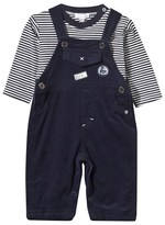 Absorba Navy Stripe Tee and Cord Dungarees Set