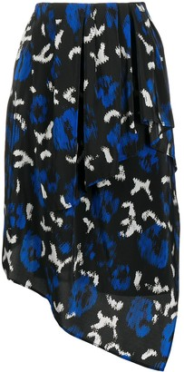 Christian Wijnants Abstract-Print Asymmetric Skirt