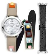Fendi Selleria White Mother-Of-Pearl Leather Strap Watch Set