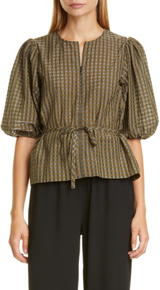 Ganni Check Seersucker Balloon Sleeve Blouse