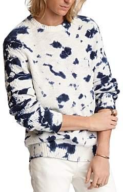 John Varvatos Eckerman Cotton Tie-Dyed Textured Crewneck Sweater
