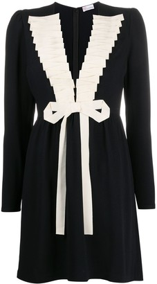 RED Valentino Plunge-Neck Bow-Detail Dress