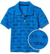 Print short sleeve polo
