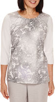 Alfred Dunner Veneto Valley 3/4-Sleeve Paisley-Print Shimmer Top