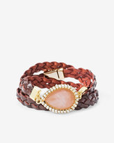 White House Black Market Rose Quartz Teardrop Leather Wrap Bracelet