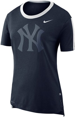 Nike Women's Navy New York Yankees Hi Lo Mesh Back Tri-Blend Performance T-Shirt