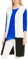 Vince Camuto Women's Open Front Colorblock Knit Long Vest