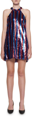 Halpern Sequin-Striped Halter Mini Dress