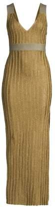 Herve Leger Metallic Deep V Gown