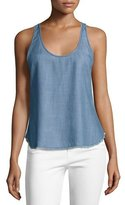 Frame Raw-Edge Racerback Tank Top, Lake