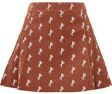 Chloé Pleated Embroidered Cotton-blend Velvet Mini Skirt - Brown