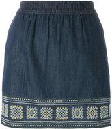 Vanessa Bruno embroidered denim skirt - women - Cotton/Polyester - 38
