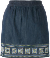 Vanessa Bruno embroidered denim skirt