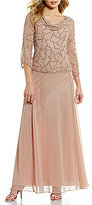 J Kara Cowl Neck 3/4 Sleeve Beaded Bodice Chiffon Gown