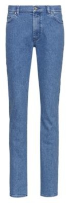 HUGO BOSS Straight-fit jeans in stretch denim with logo-tape turn-ups