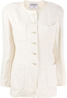 Chanel Pre Owned Collarless Buttoned Jacket