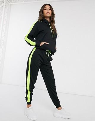 NA-KD Na Kd co-ord neon side-stripe jogger in black