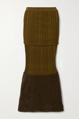 MONCLER GENIUS 2 Moncler 1952 Mohair-blend And Ribbed Silk Midi Skirt - Brown