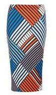 Dorothy Perkins Womens Blue and Orange Geometric Print Tube Skirt- Blue