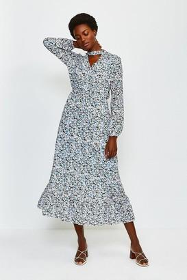 Karen Millen Floral Long Sleeved Ruffle Dress