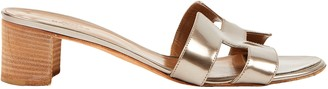 Hermes Oasis Silver Patent leather Sandals