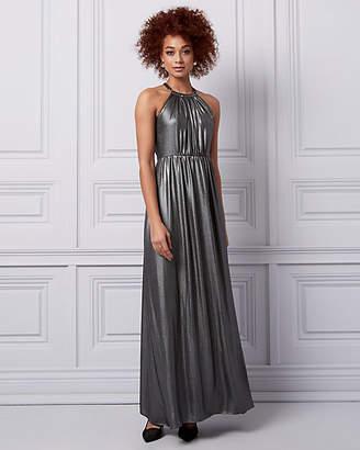Le Château Foil Chiffon Halter Gown