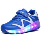 Ufatansy Uforme Kids Wheelies Lightweight Fashion Sneakers LED Light Up Shoes Single Wheel Double Wheels Roller Skate Shoes