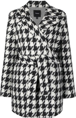 Theory Houndstooth-Print Cashmere-Blend Coat