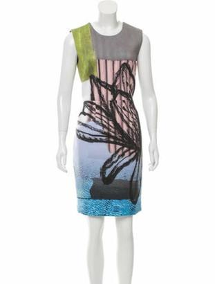 Angelys Balek Abstract Print Sleeveless Dress w/ Tags Grey
