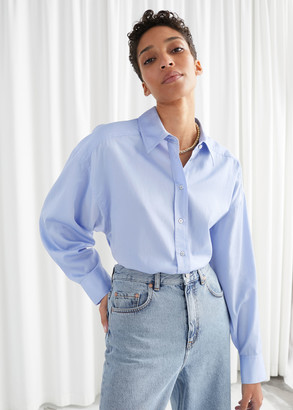 And other stories Cropped Oversized Cotton Shirt