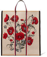 Gucci Embroidered Leather-Trimmed Canvas Tote