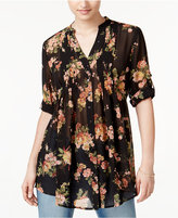American Rag Pintucked Floral-Print Blouse, Only at Macy's