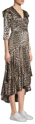 Ganni Calla Leopard Silk Dress