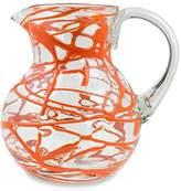 Novica Hand Blown Orange Glass Pitcher, 84 oz. 'Tangerine Swirl'