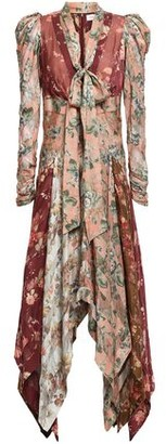 Zimmermann Asymmetric Floral-print Voile And Silk-blend Twill Dress