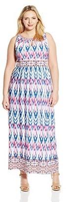 London Times Women's Plus-Size Ikat Tile Halter Maxi Dress