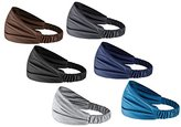 Set of 6: HBYTM Solid Color Cotton Multi-Style Headbands for Women Sports or Fashion