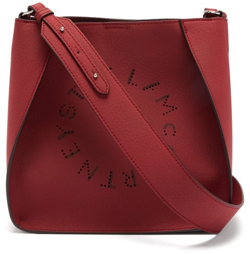 Stella McCartney Mini Perforated Logo Faux-leather Cross-body Bag - Burgundy