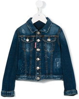 DSQUARED2 distressed denim jacket - kids - Cotton/Spandex/Elastane - 10 yrs