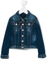 DSQUARED2 distressed denim jacket - kids - Cotton/Spandex/Elastane - 4 yrs