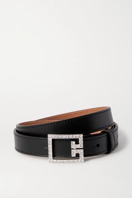 Givenchy Crystal-embellished Leather Belt - Black