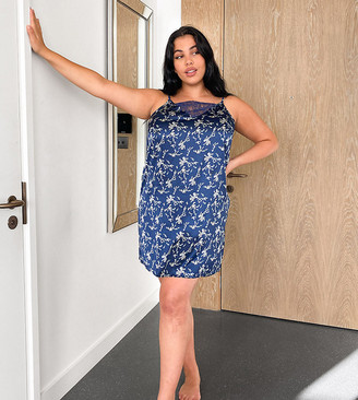 Vero Moda Curve satin nightie in navy floral