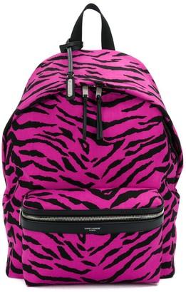Saint Laurent City tiger-print backpack
