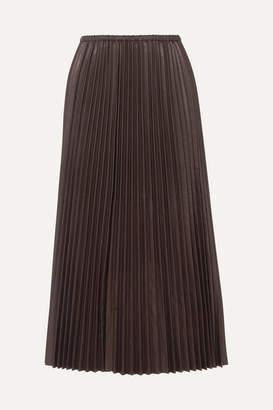 Valentino Pleated Leather Maxi Skirt - Black