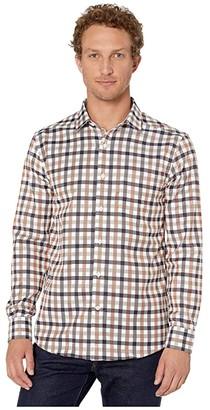 Johnston & Murphy XC4 Large Twill Gingham Shirt (Brown/Blue) Men's Clothing