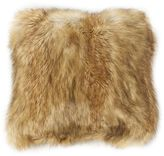 Wild Mannered Luxury 18-Inch Long Hair Faux-Fur Square Throw Pillow in Platinum Frost Fox
